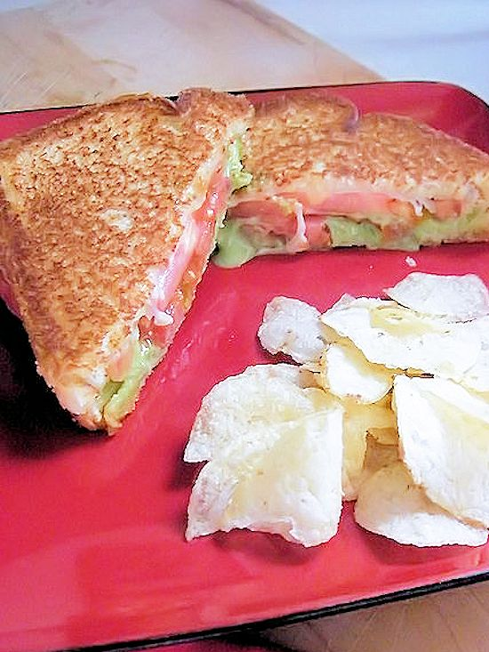 Tomato and Guacamole Grilled Cheese