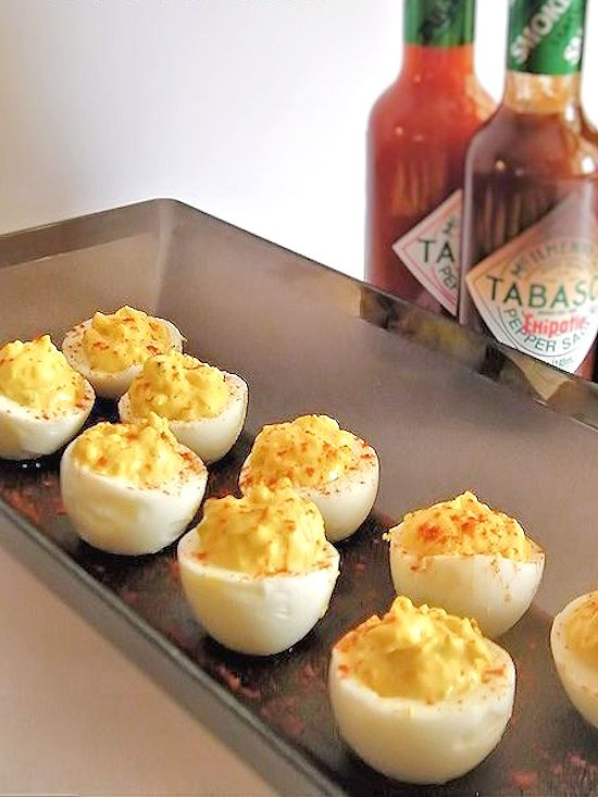 Devilish Deviled Eggs - made using 3 different levels of Tabasco to suit everyone's tastes #SeasonedGreetings #ad
