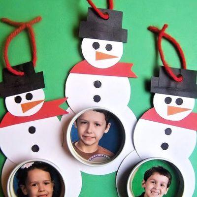 DIY Bottle Lid Snowman Photograph Ornaments
