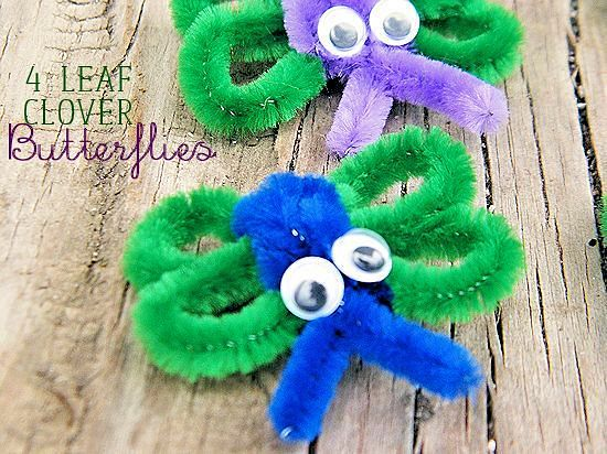 4 Leaf Clover Butterfly Craft made with pipe cleaners. An easy craft for St. Patrick's Day and Spring!
