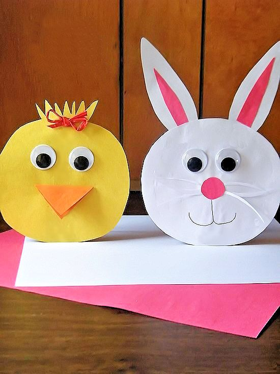 How to make this Stand Up Bunny and Chick Easter Paper Craft decoration. Easy for kids to customize and stand up to show them off!