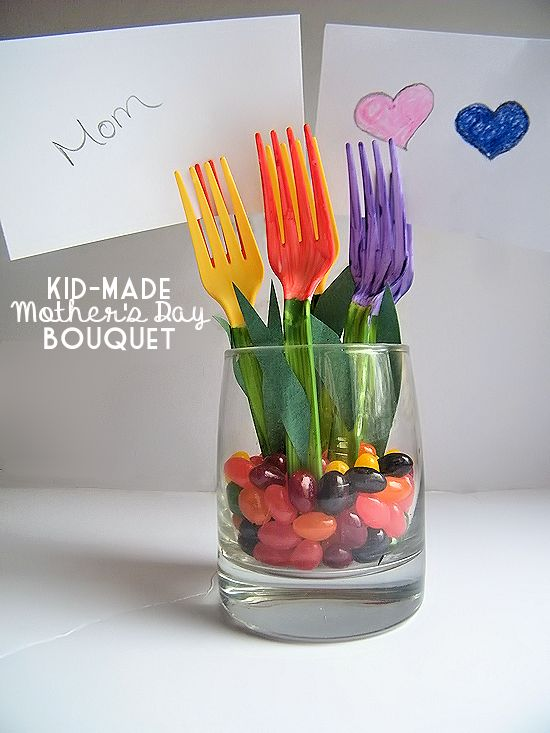 Kid-Made Mother's Day Bouquet Plastic Fork Tulips Craft - write messages to mom on note cards and stick in the tines of the forks!