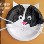Tissue Paper on Paper Plate Cat Craft