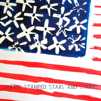 Straw Stamped Stars and Stripes Flag