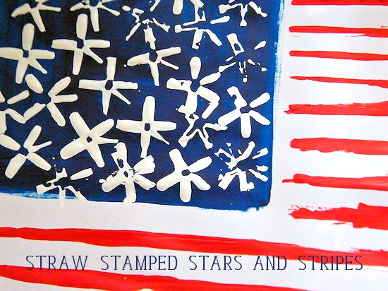 Straw Stamped Stars and Stripes Flag Craft