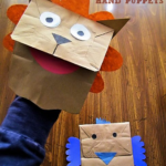 Lion & Bird Paper Bag Hand Puppets