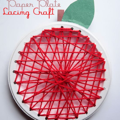 Apple Paper Plate Lacing Craft