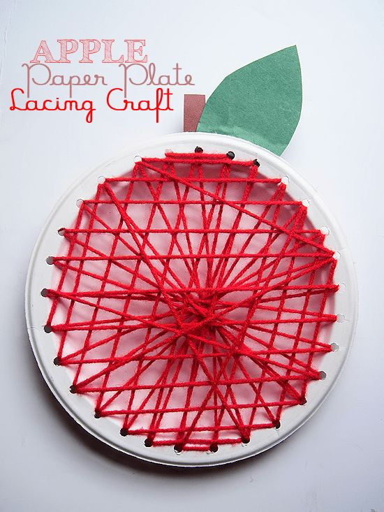 Apple Paper Plate Lacing Craft - Fall Craft for Kids : fall paper plates - pezcame.com