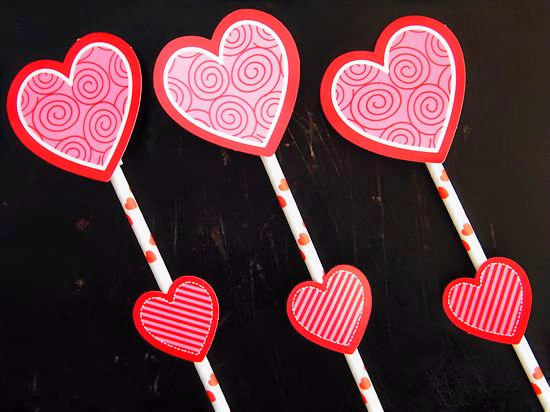 Valentine Heart Straw Rockets for Valentine's Day