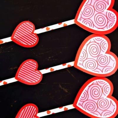 Valentine Heart Straw Rockets