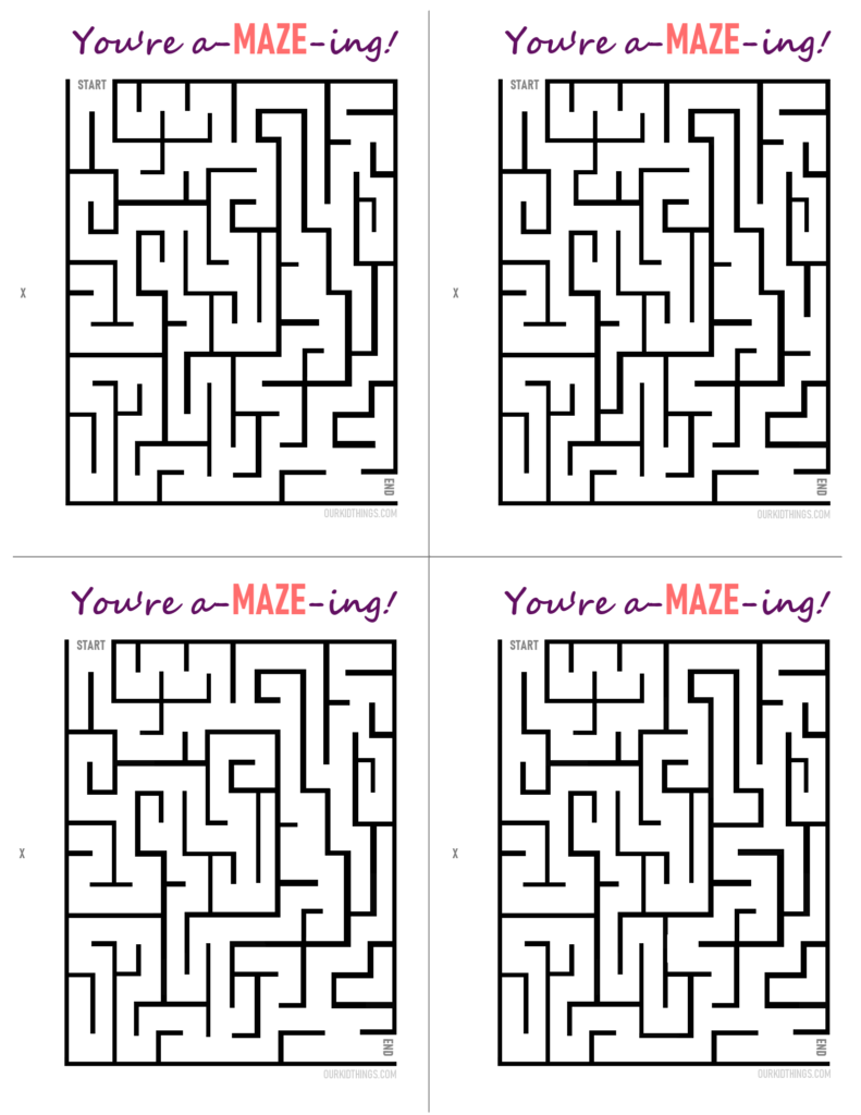 You're A-MAZE-ing! Free Printable Cards | Our Kid Things