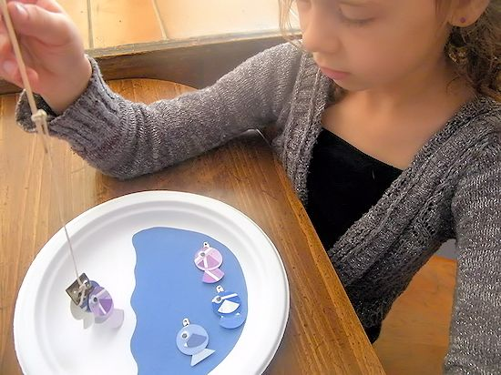 DIY  Paper Plate Fishing Craft Magnetic Fish and Pole Set for Kids