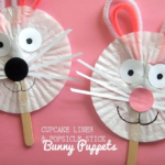 Cupcake Liner & Craft Stick Bunny Puppets