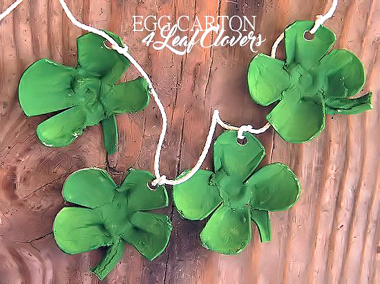 St. Patrick's Day Egg Carton 4 Leaf Clovers Craft