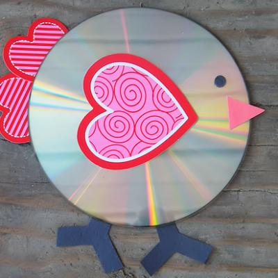 Recycled CD Valentine's Day Love Bird