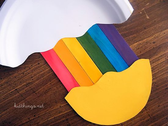 St. Patrick's Day Craft Stick & Paper Plate Rainbow Craft