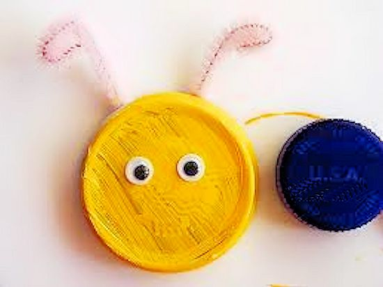 Bottle Cap Caterpillar Kids Summer Craft