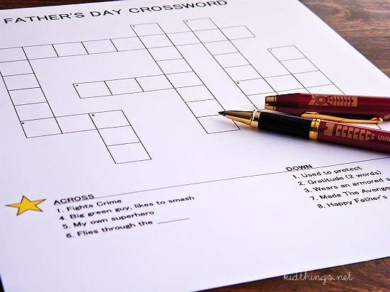 Superhero Father's Day Crossword Free Printable #WriteGift #SuperPen (ad)