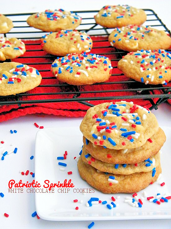 Patriotic Sprinkle White Chocolate Chip Cookies for July 4th, Independence Day, Memorial Day