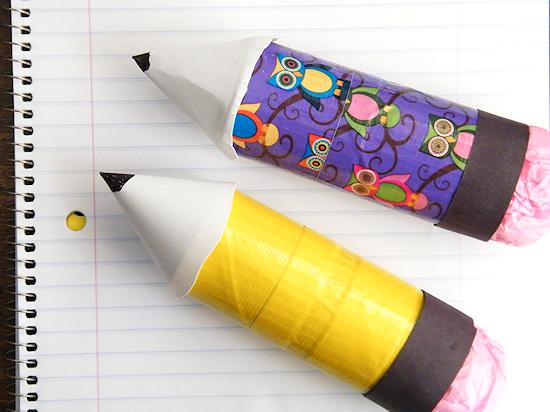 Cardboard Roll Duck Tape Pencil Craft #DucktoSchool (ad)