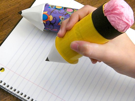 Cardboard Roll Duck Tape Pencil Craft #DucktoSchool (ad)