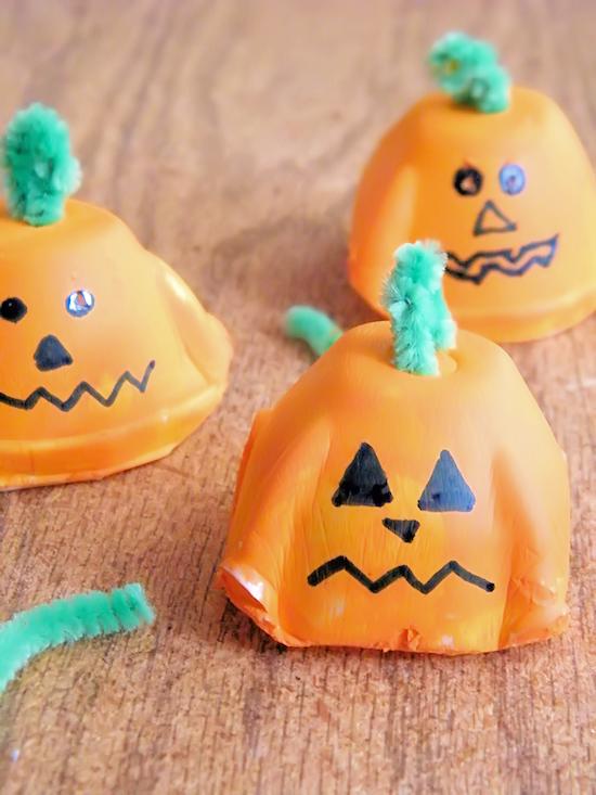 Egg Carton Pumpkin Faces Halloween Craft