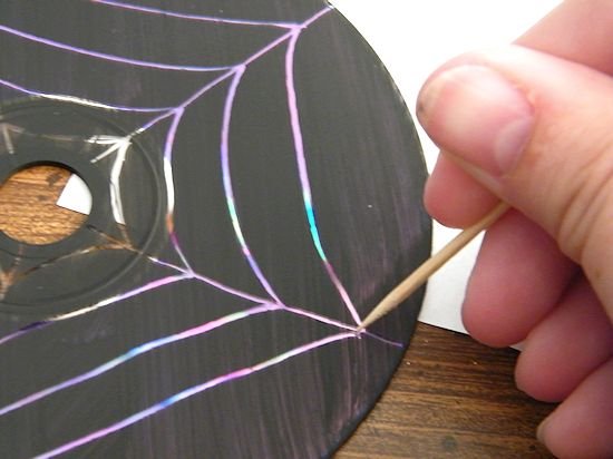 Scratched CD Spiderwebs Halloween Craft