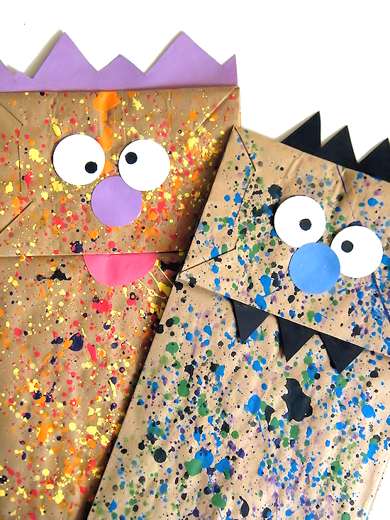 Paper Bag Paint Splatter Monster Puppets Kids Craft