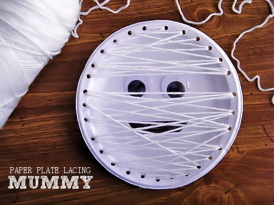 Mummy Paper Plate Lacing Craft Halloween Kids Craft