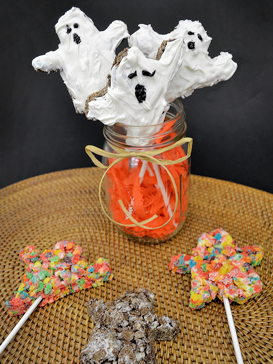 White Chocolate Cocoa Pebbles Ghosts Treats (ad)