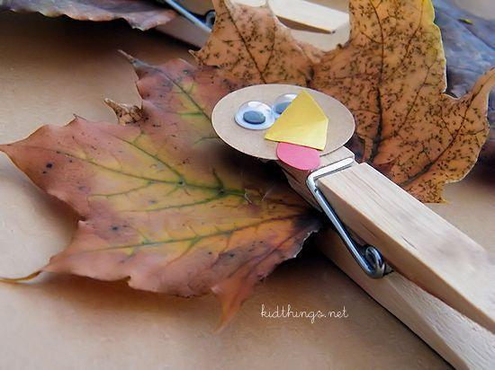 Clothespin & Leaf Turkey Craft Nature Craft Fall Craft Kid Craft