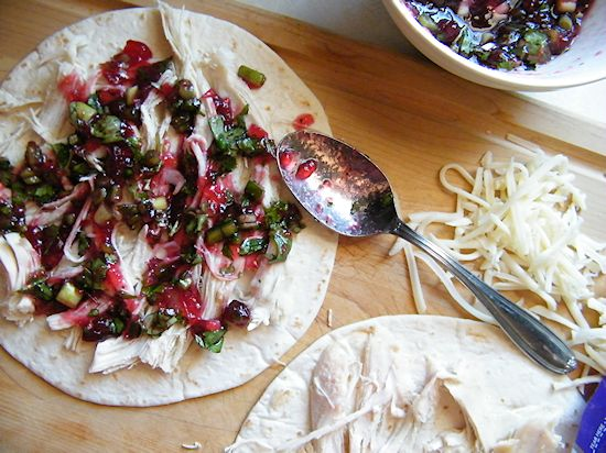 Leftover Turkey Cranberry Salsa Quesadillas #HonestSimpleTurkey (ad)