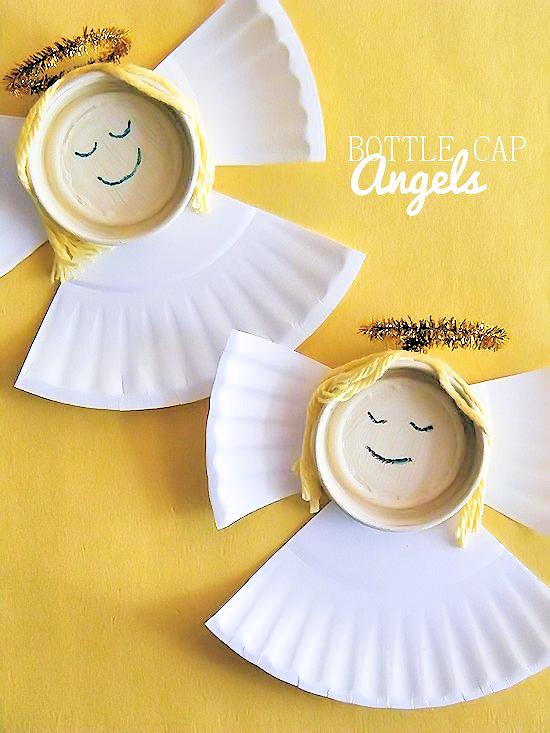 Bottle Cap Angels Christmas Kids Craft