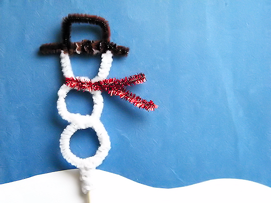 Pipe Cleaner Snowman Topper Stick Puppet Craft Winter Kids Craft