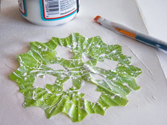 Cupcake Liner Paint Splatter Snowflakes Craft