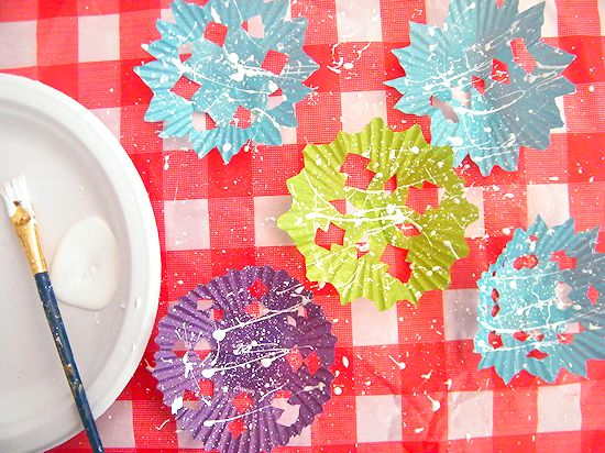 Cupcake Liner Paint Splatter Snowflakes Craft