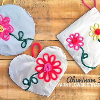 Aluminum Foil Yarn Flower Ornaments