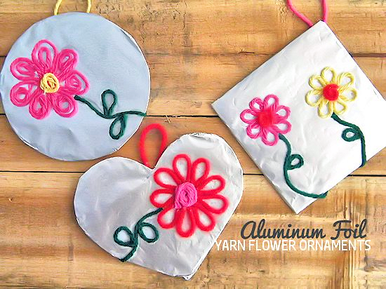Aluminum Foil Yarn Flower Ornaments Valentine's Day Gift Idea, Mother's Day Gift Idea, Spring Craft