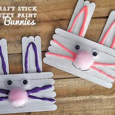 Craft Stick & Puffy Paint Bunnies