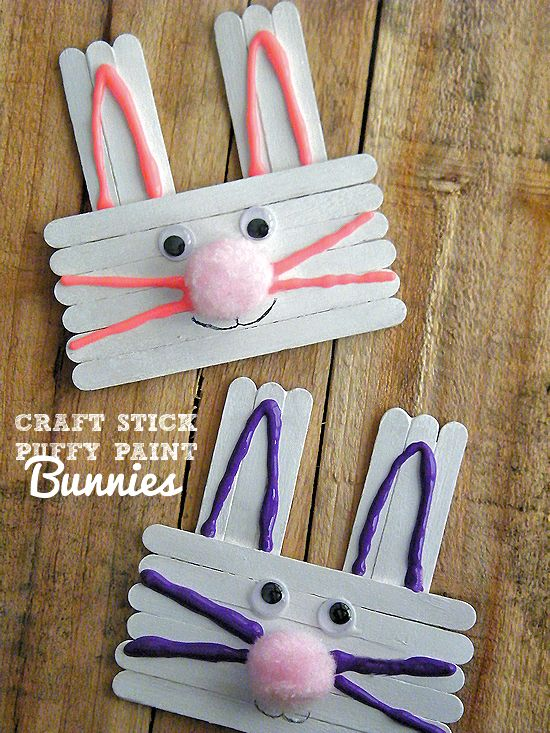 Craft Stick & Puffy Paint Bunnies Easter Craft