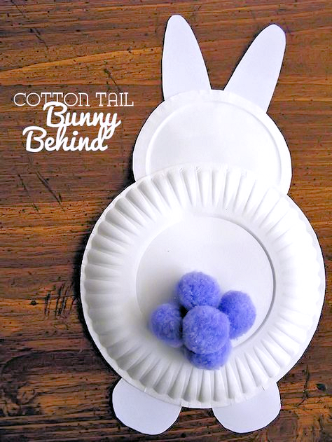 Paper Plate Cotton Tail Bunny Behinds Easter Craft Kids Craft Spring Craft
