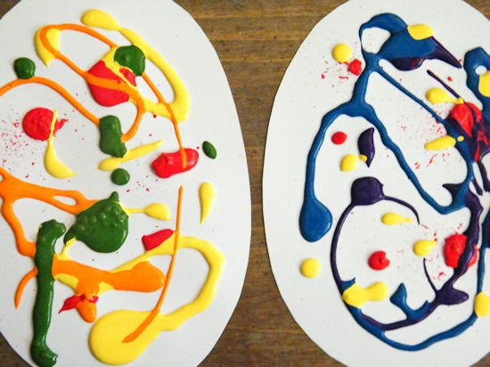 Smush Paint Paper Easter Eggs Paint Craft Art Process
