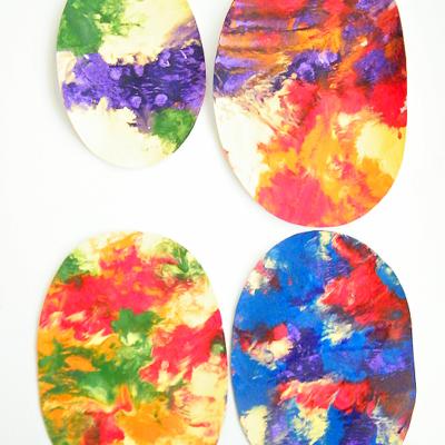 Smush Paint Paper Easter Eggs