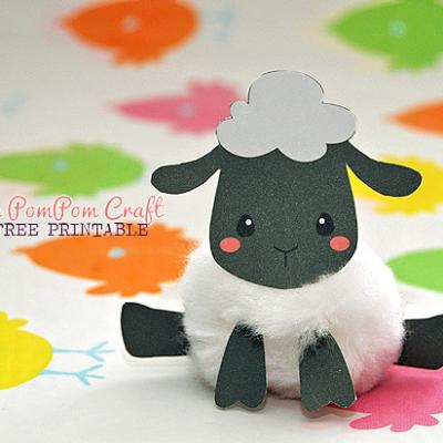 Sheep PomPom Craft Free Printable