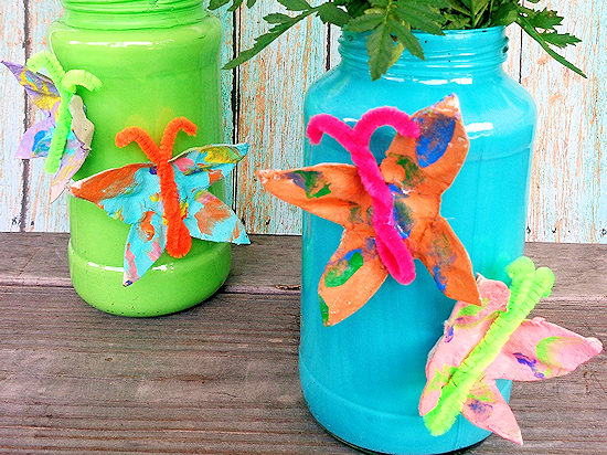 Painted DIY Egg Carton Butterfly Vase Mother's Day Gift Idea, Spring Craft
