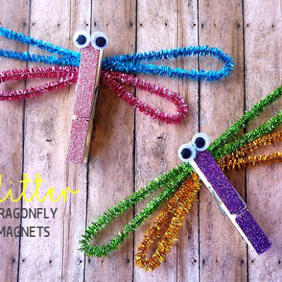 Clothespin Glitter Dragonfly