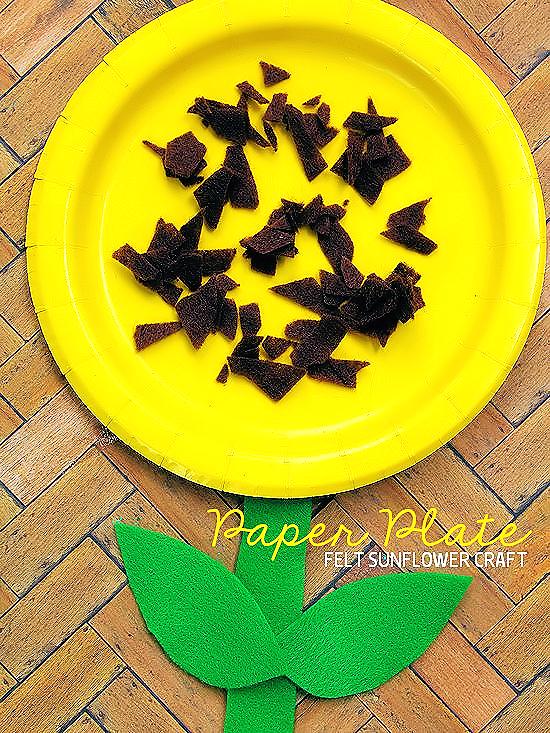 Paper Plate Felt Sunflower Craft Summer Craft Kids Craft & Paper Plate Felt Sunflower | Our Kid Things