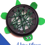 Plastic Lid Yarn Weaving Turtle