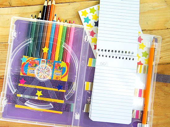 Kids DIY Travel Art Case from an old Game or DVD Case #RoadTripOil (ad)