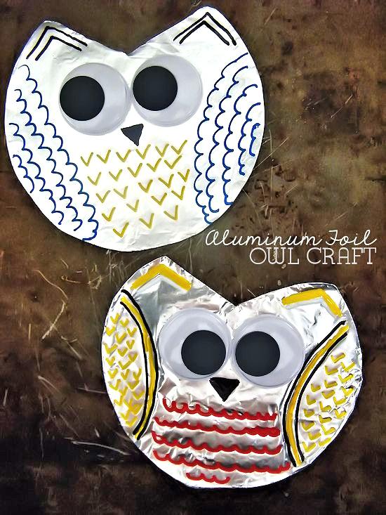 Aluminum Foil Owl Craft, Fall Craft, Kid Craft
